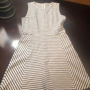 J Crew Stripe Ponte Dress - Navy/Off White